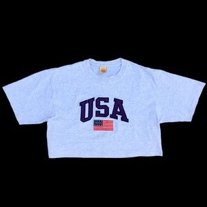 Vintage 90's Jerzees 385 USA Light Gray Crop Top